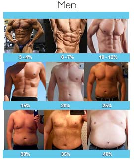 Men with different body fat percentage